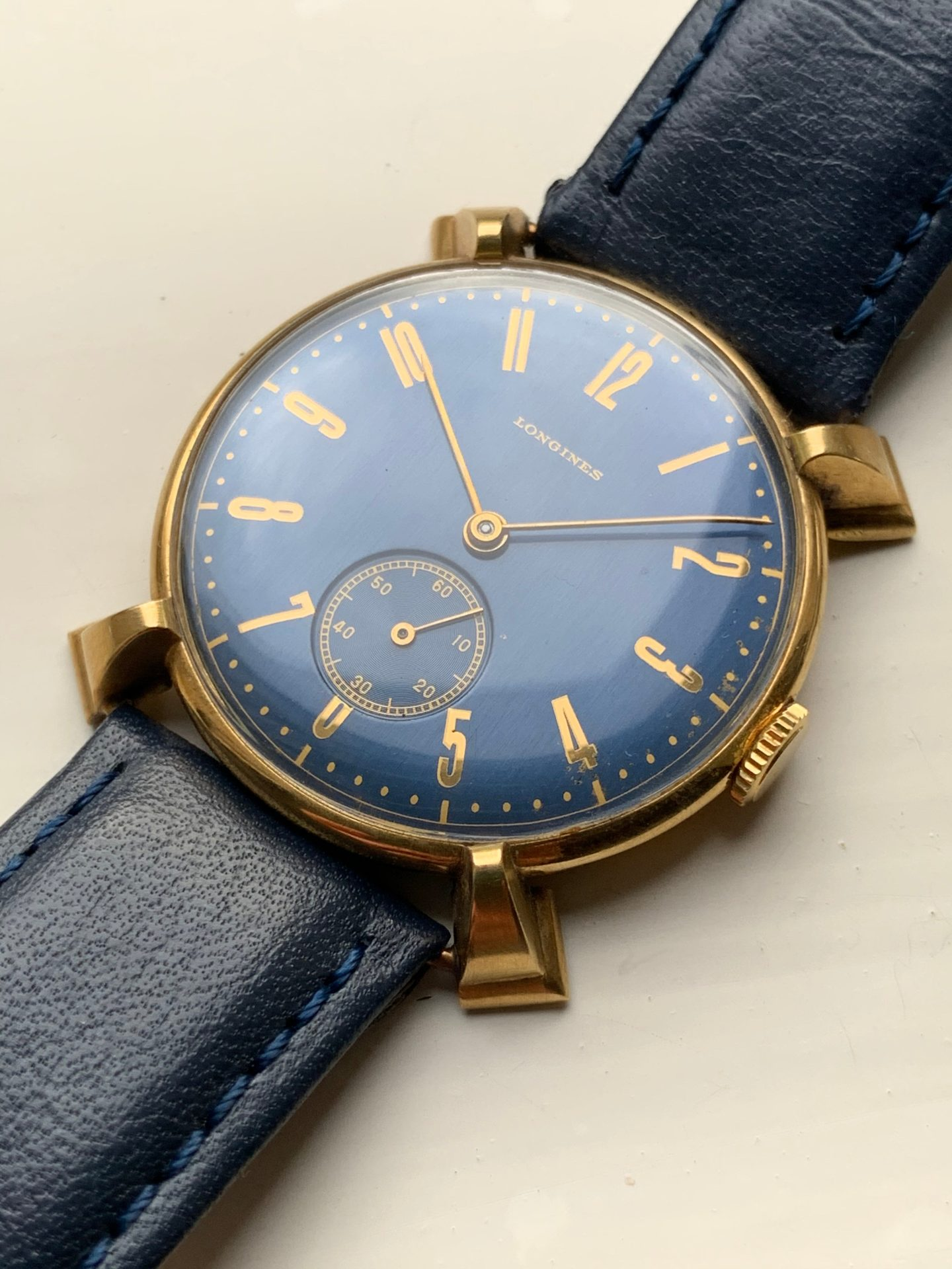 Blue dial vintage Longines possibly unique with shaped lugs for A Collected Man London