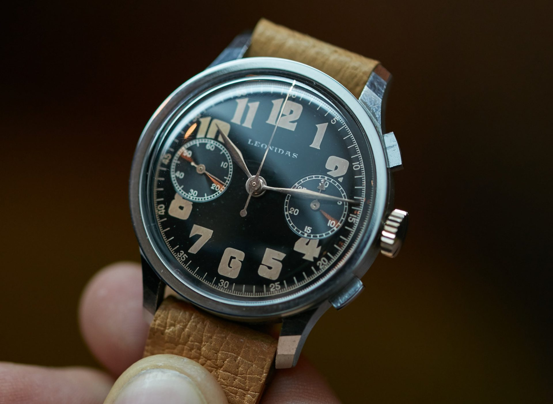 Leonidas chronograph in hand vintage watch A Collected Man London