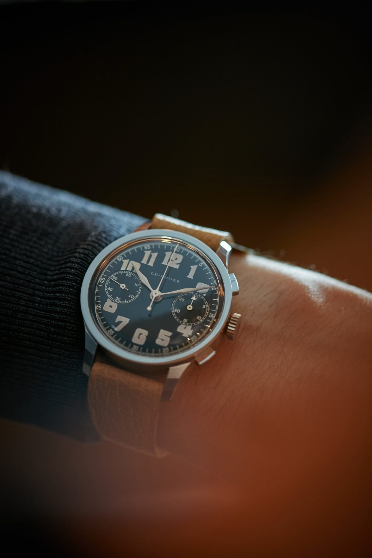 Leonidas chronograph on the wrist vintage pilots watch A Collected Man London