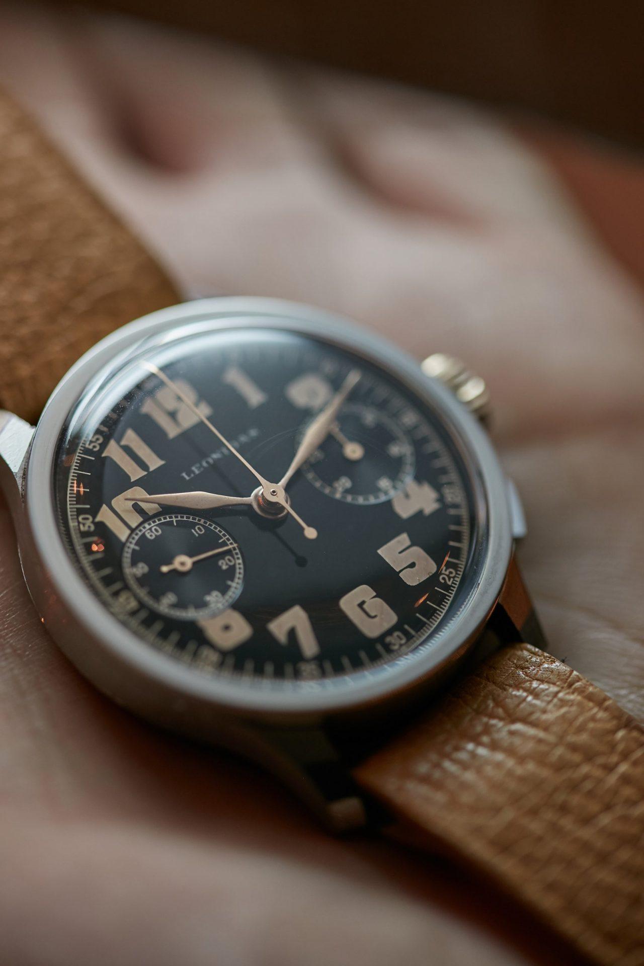 Leonidas chronograph vintage pilots watch A Collected Man London